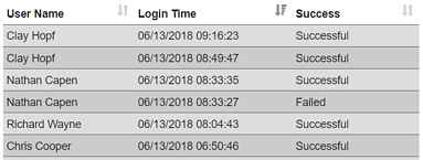 Login Logs Snapshot