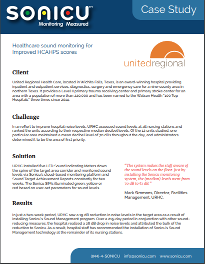 United Regional Healthcare saw significant sound reduction by using Sonicu wireless sound management.